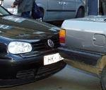 """""""Audi"""" atpakaļgaitā taranē """"VW Golf"""""""