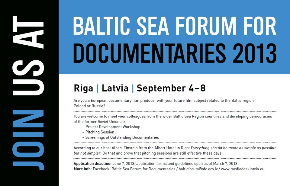 Septembrī notiks jau 17. Baltijas jūras dokumentālo filmu festivāls