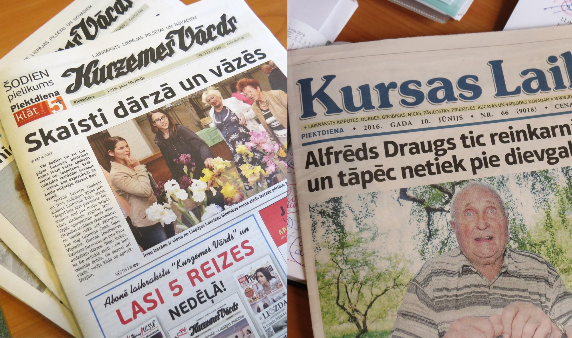 """""""Kursas Laiks"""" pārtop par nedēļas izdevumu; """"Kurzemes Vārds"""" turēs dienas avīzes kanti"""