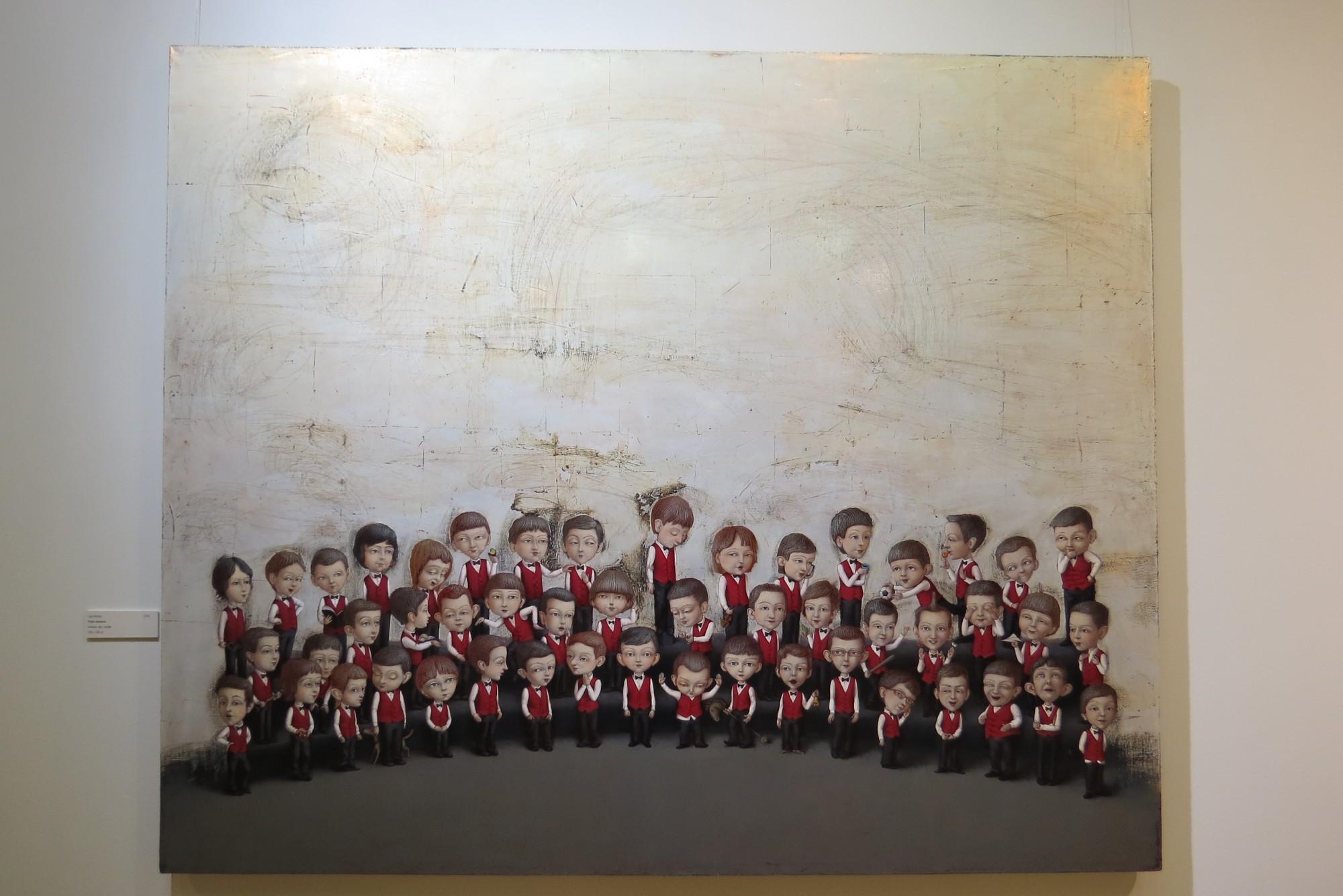 """Līgas Ķempes glezna """"Puiku dziesma"""" iegūst izstādes apmeklētāju simpātiju balvu"""