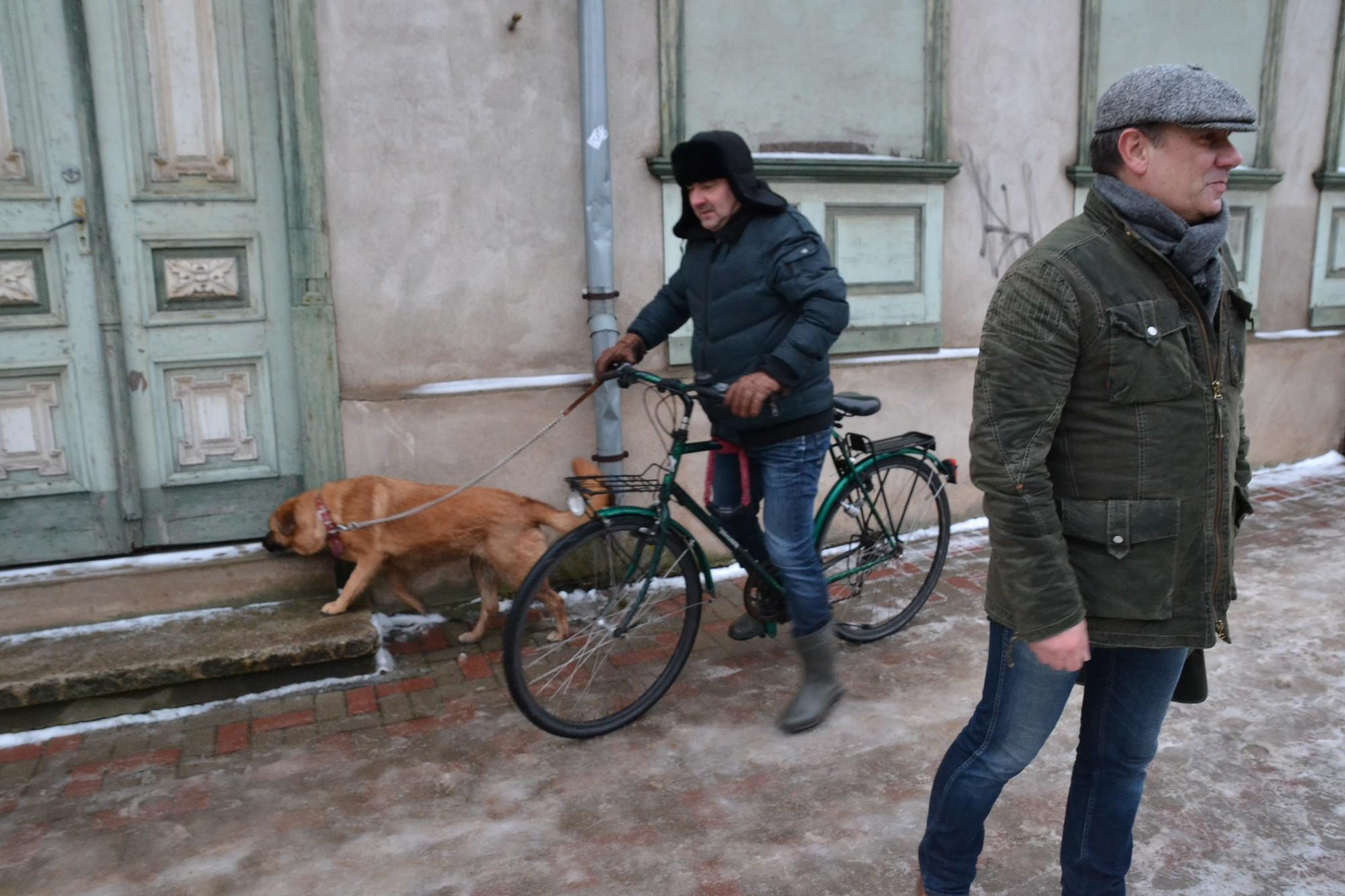 Slīd gājējs, suns un riteņbraucējs