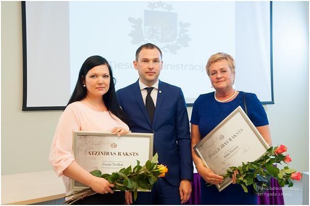 Tiesu administrācija apbalvo Kurzemes apgabaltiesas darbinieces