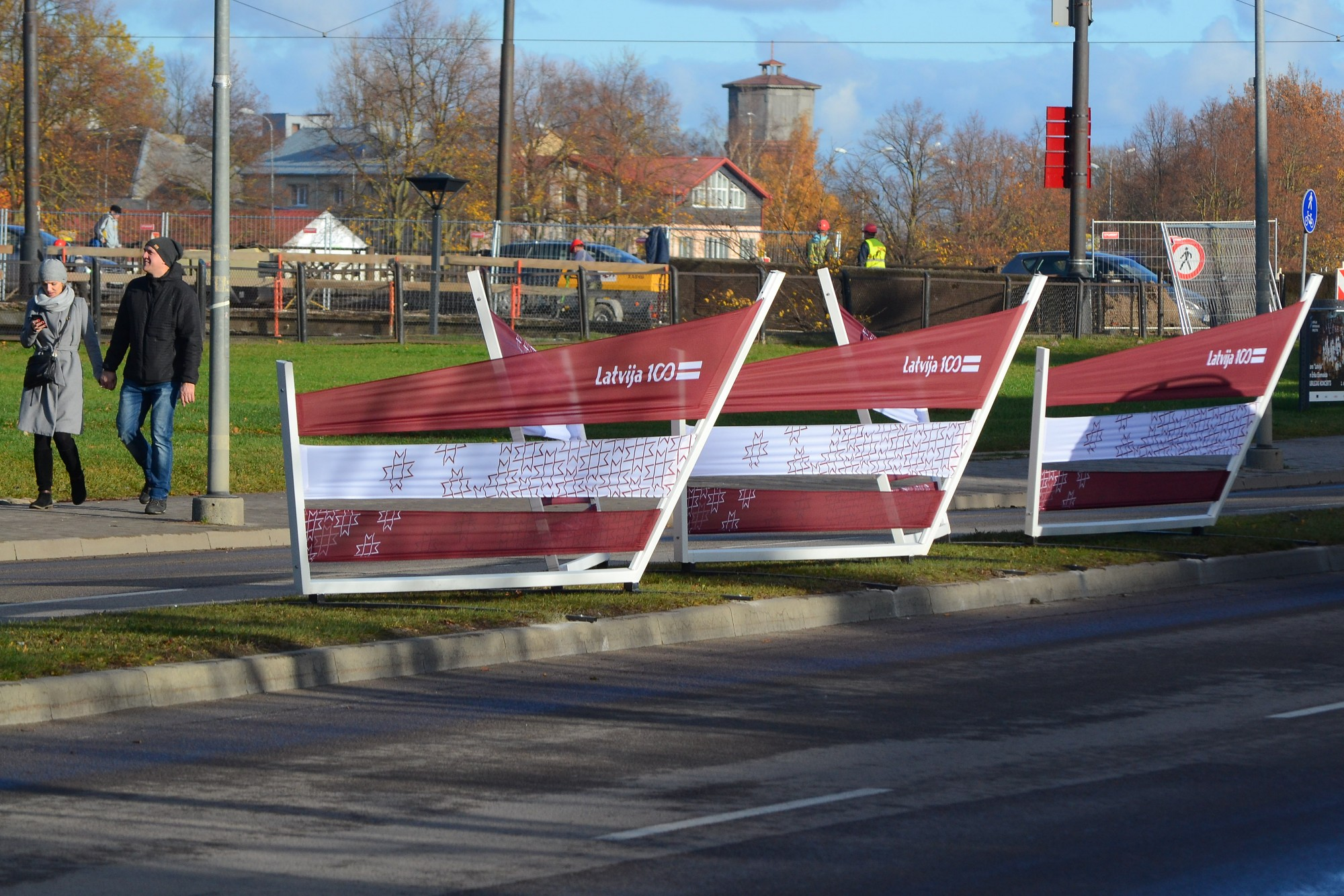 Jūras ielu grezno karoga laiviņas
