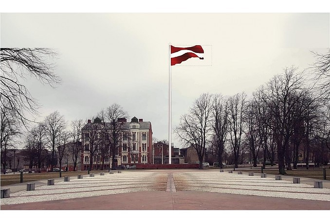 Piektdien svinīgi mastā vilks lielformāta karogu