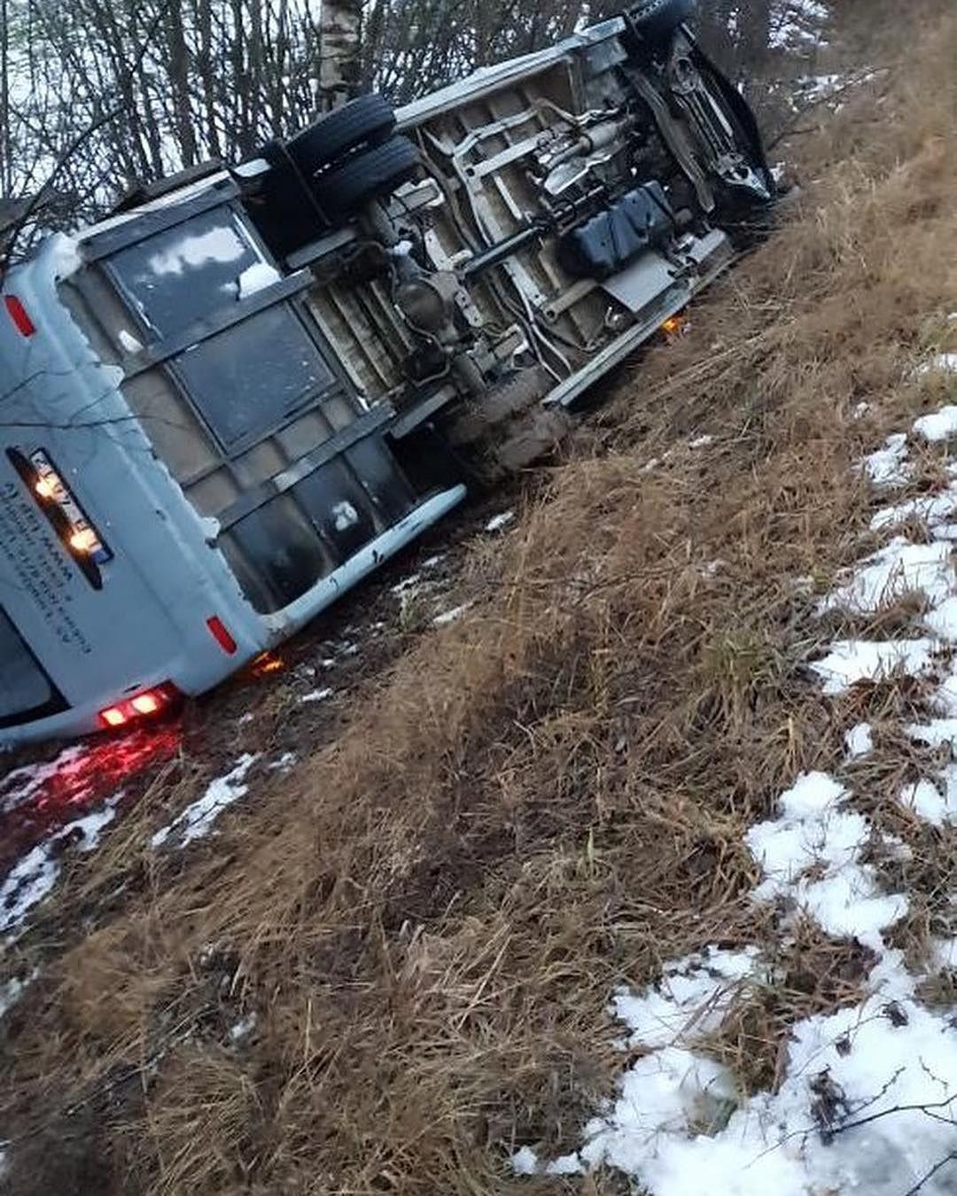 Grāvī ieslīd pasažieru autobuss