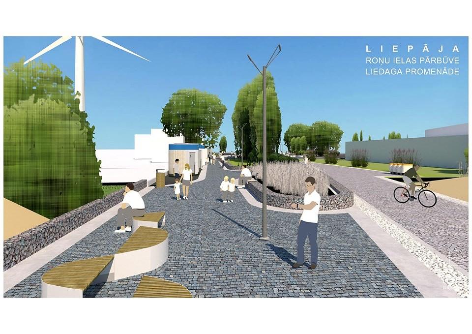 Sagatavota Roņu ielas un pludmales pārvērtību vizualizācija
