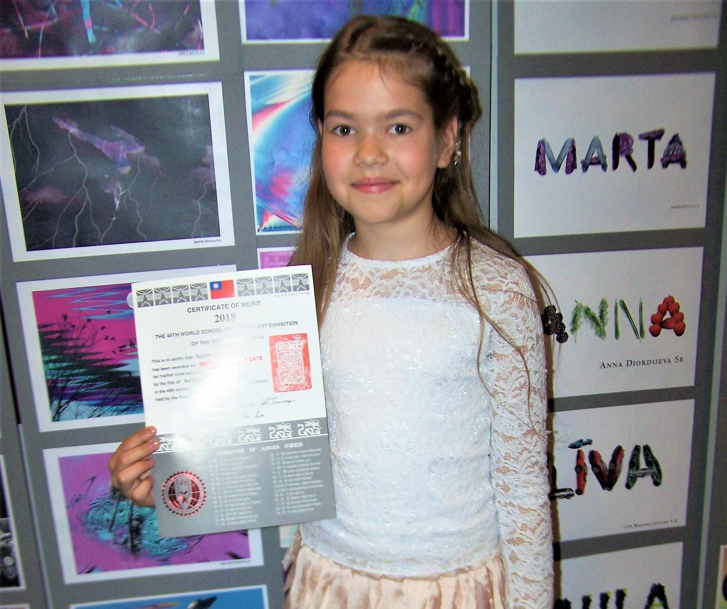 Liepājniecei diploms zīmējumu konkursā