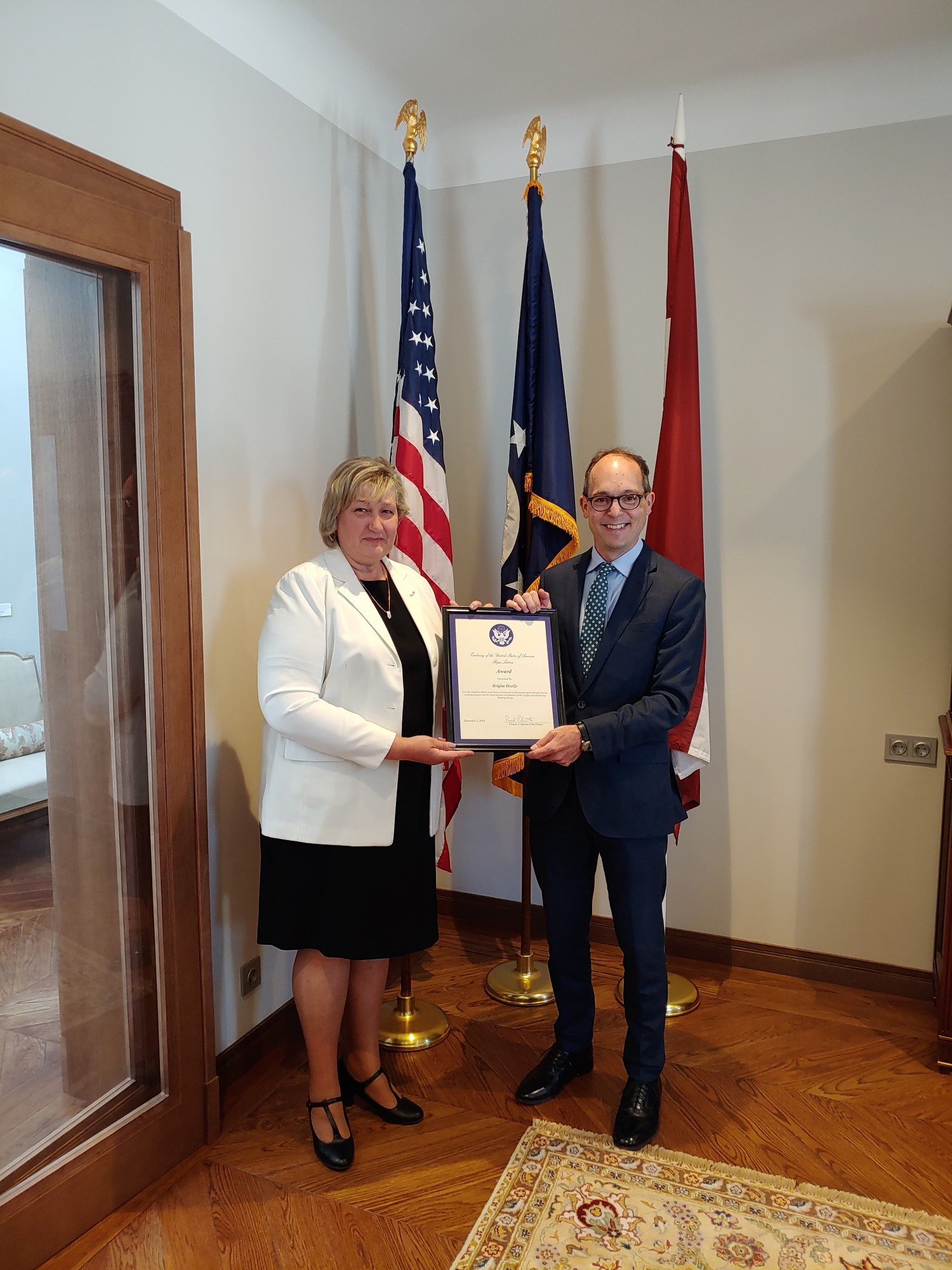 Brigitai Dreižei – ASV atzinība par paveikto cilvēktirdzniecības novēršanas darba grupā