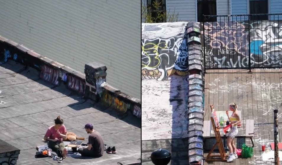 Dienas prieks: Ņujorkas māju jumti kļūst par sporta zālēm, pludmalēm un randiņu vietām