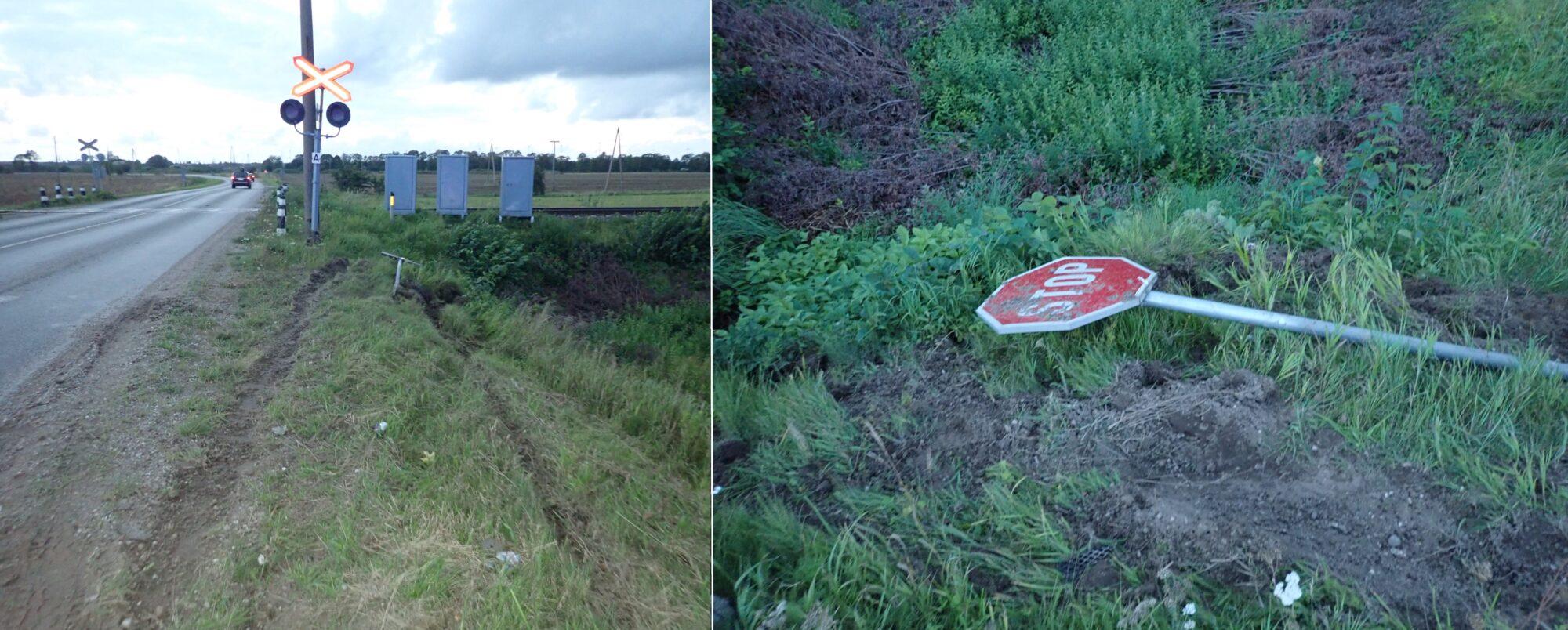 Grobiņas novadā sabojāta ceļa zīme. Meklē aculieciniekus