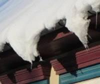 Apdraud no jumtiem krītošs sniegs un lāstekas