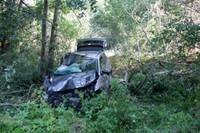 14. novembra bulvārī dzērumā ar nomas auto paretina kokus un krūmus