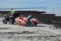 Liepājas pludmales jūras krastu klāj pamatīga aļģu sega