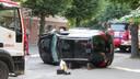 На улице Райня перевернулась автомашина, пострадал человек