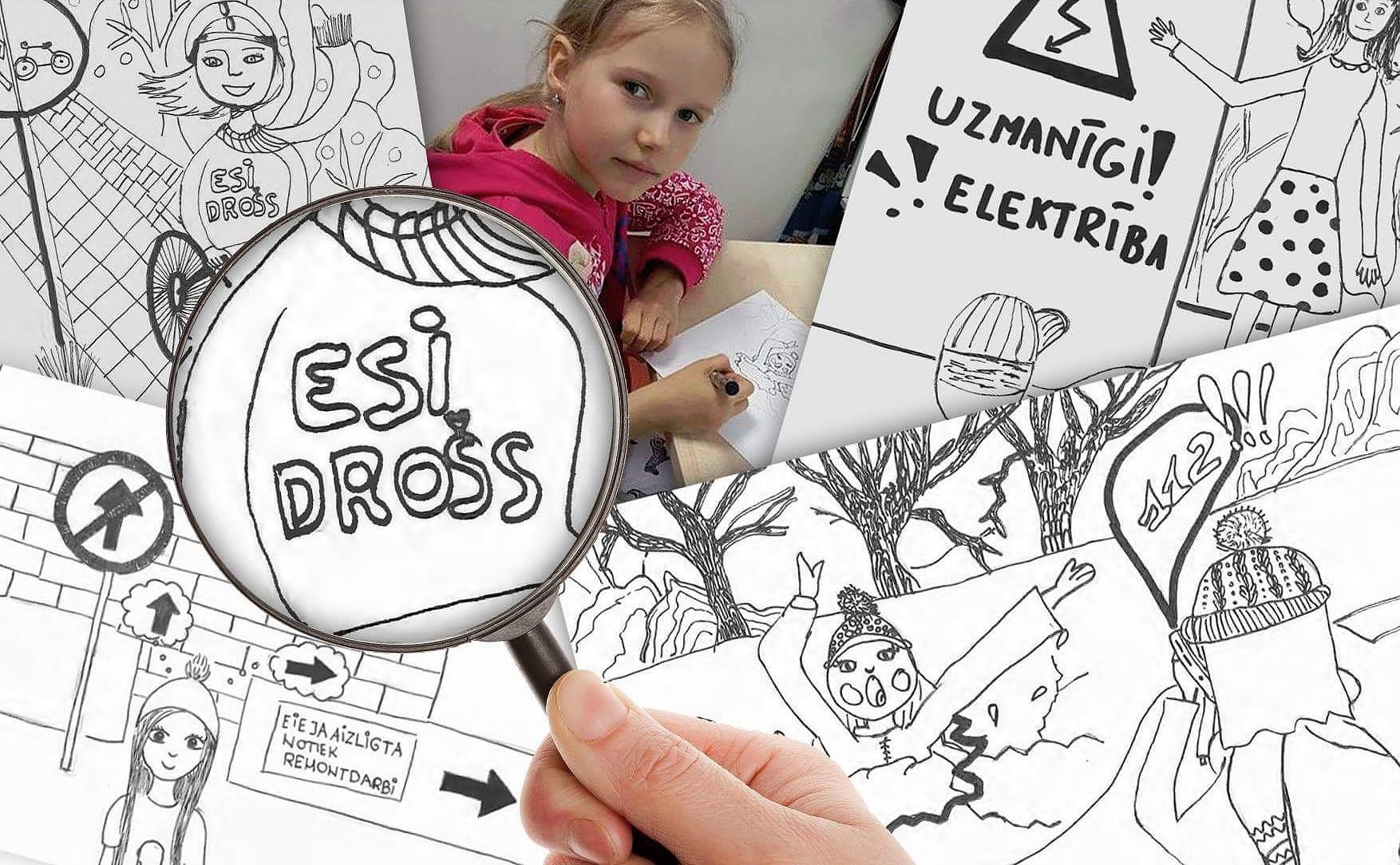 Лиепайская молодежь создала книжку-раскраску для первоклассников «Маленькие лиепайчане в безопасности»