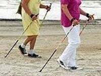 Становится популярной ходьба с палками