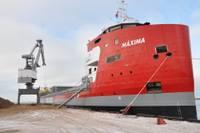 В Лиепае пришвартовалось недавно построенное 150-метровое грузовое судно